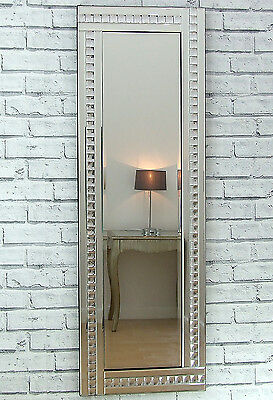 "Alma Silver Crystal Glass Frame Long Dress Wall Mirror 48""x 16"" Large"