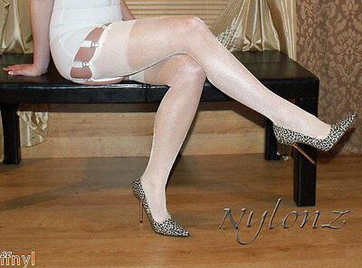 3 pairs NYLONZ Gloss Shine Stockings Ivory S,M,L,XL   FREE UK SHIPPING