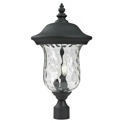 """Z-Lite Armstrong Outdoor Post Light, 10x21"""", Black, Clear Waterglass - 533PHM-BK"""