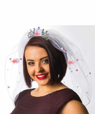 Flashing L Plate Comb Veil Bride to be hen night party Pink & white