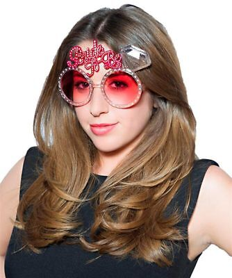 Hen Night Party BRIDE TO BE Fun Plastic Hot Pink Bling Diamante effect Glasses