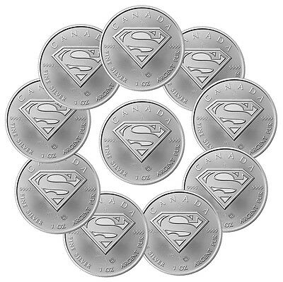 2016 Canada $5 1 oz. Silver Superman - Lot of 10 Coins GEM BU SKU41397
