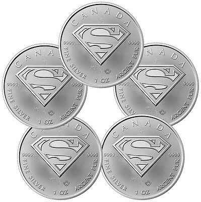 2016 Canada $5 1 oz. Silver Superman - Lot of 5 Coins GEM BU SKU41396