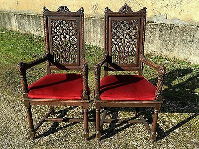 RARE Antique French Gothic Dining Chairs WONDERFUL Pierced Carved Details