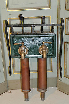Antique French Country Well Pump Double Model Brass & Iron