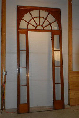"""Interior French Door Surround, Sidelights and Transom 100"""" Tall, c1910 Antique"""