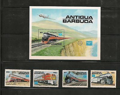 "ANTIGUA - Sc #'s 934 -938, MNH, F-VF - ""Trains"" - Cat $18.00"