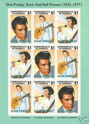 "DOMINICA Scott #'s 1544 (3 strips of 3 #a-c) MNH,  F-VF - ""Elvis Presley"""