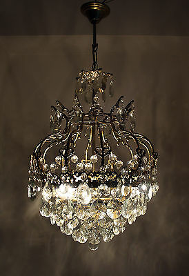 Antique Brass & Crystals Chandelier from 1950's