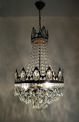 Antique French Basket Style Brass & Crystals Chandelier from 1950's • CAD $315.91