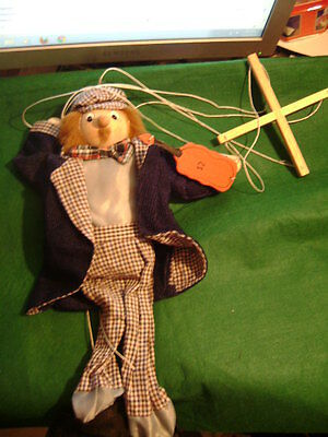 French Man Wooden Puppet Hand Carved In  Quebec City Canada