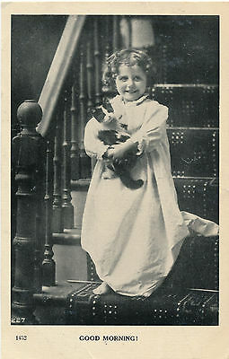"1909 Little Girl in Nightie with Kitty Cat ""Good Morning"" Photo Postcard"