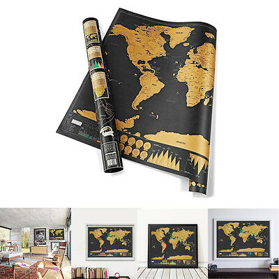 Large Scratch Off Map of the World Poster Wallpaper Personalized Travel NEW UK