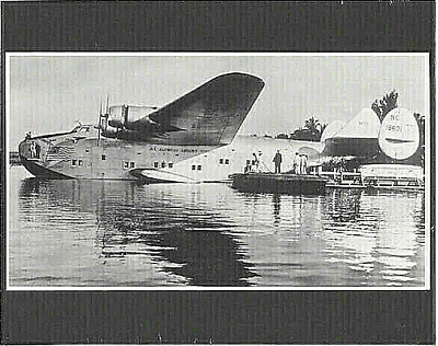 "BOEING 314 'HONOLULU CLIPPER' SEAPLANE AT DOCK LATE 1930'S PHOTO ON 8x10"" MATT"