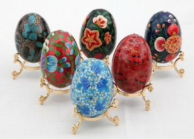 Gorgeous hand painted collectable paper mache decorated egg in stand