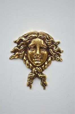 Small Art Nouveau lady head solid brass furniture mount ormalu H6