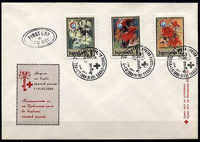 531 Yugoslavia - Macedonia 1988 Red Cross, FDC black seal