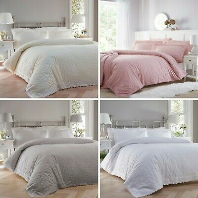 Cream / White Broderie Anglaise Duvet Cover Bed Sets - Luxury Percale Bedding