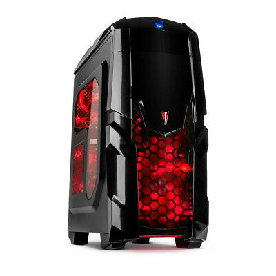 Q2 Gaming MidiTower PC Gehäuse USB 3.0 Cardreader rote Led Lüfter Window
