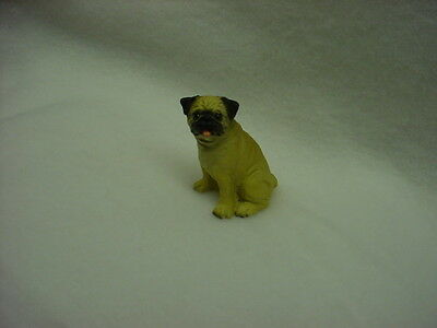 PUG tan fawn brown puppy TiNY DOG Figurine MINIATURE Collectible Statue Resin