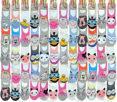6 Pairs Girls Invisible Trainer Liner Socks Childrens Animal Design No Show Shoe