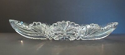 "Nice American Brilliant Period (Abp) Cut Glass Celery Dish ""starburst & Fan"""