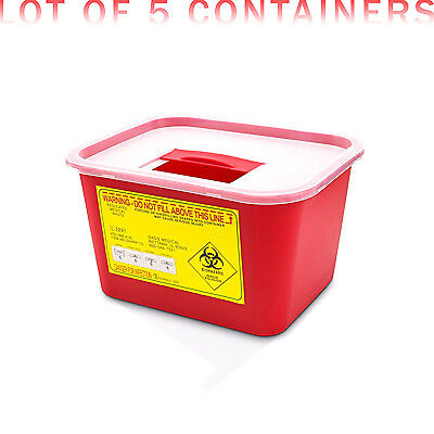 1 Gallon Sharps Container, Syringe Needle Disposal Container, 5/Box