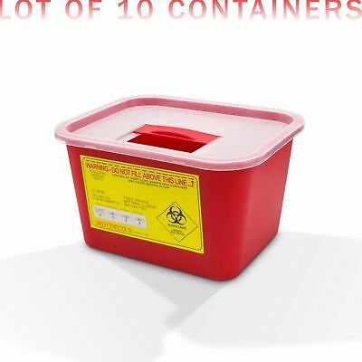 1 Gallon Sharps Container, Locking Top, 10/Box