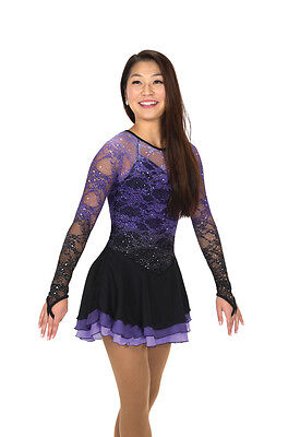 Competion Skating Dress CASCADE LACE PURPLE MADE ORDER 3 WEEKS FABRICATION -241