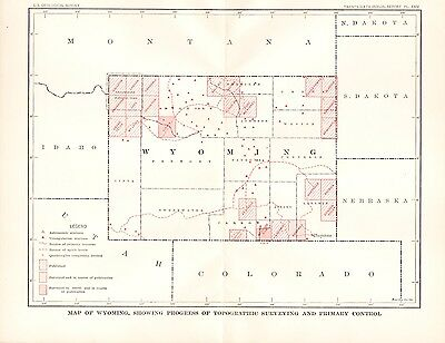 1905 Map of Wyoming USGS Topographic Survey