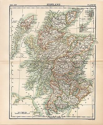 1888 Map of Scotland A.K. Johnston