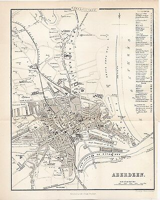 1878 Map of Aberdeen City Plan Scotland A & C Black J Bartholomew