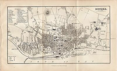 1878 Map of Dundee City Plan Scotland A & C Black J Bartholomew