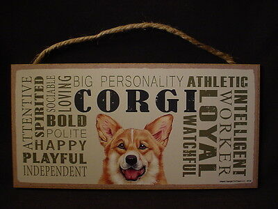 CORGI Subway Style Dog SIGN wood WALL hanging PLAQUE puppy WELSH PEMBROKE new