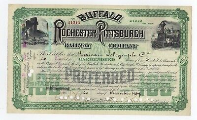 Buffalo, Rochester and Pittsburg Railway Company Stock Certificate