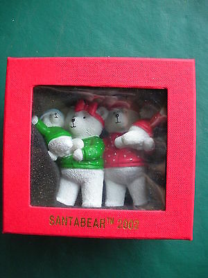 "2002 Santabear ""RESIN ORNAMENT"" -Mr & Mrs W/ Berry and BelleIn Their Arms- NIB"