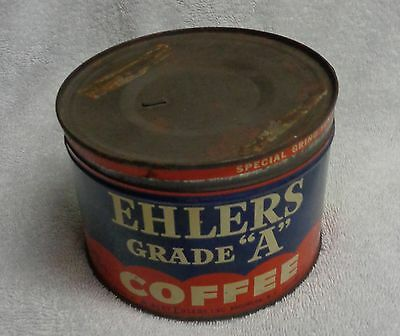 Ehlers Grade A Coffee Blue And Red Vintage Tin Coffee Can