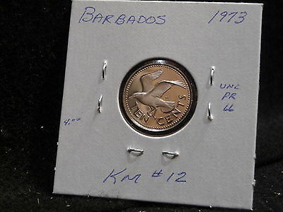 Barbados: 1973   10 Cents  Coin  Proof  Hc. Gem  (Unc.)    (#1186)  Km # 12
