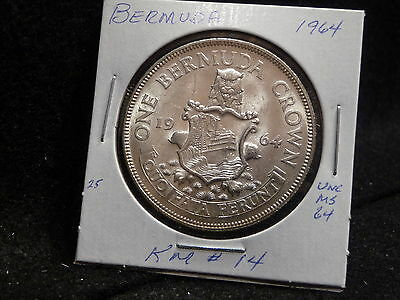 Bermuda:  1964    Crown  Coin  .500 Silver Gem  (Unc.)  (#1189)  Km # 14