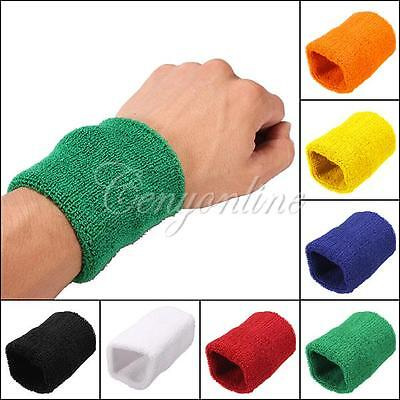 2x Unisex Gym Cotton Wristband Arm Wrist Band Terry Cloth Sweatbands 7 Colors