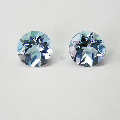 2.34ct AQUAMARINE MATCHING PAIR NATURAL FACETED IN GERMANY+CERTIFICATE AVAILABLE