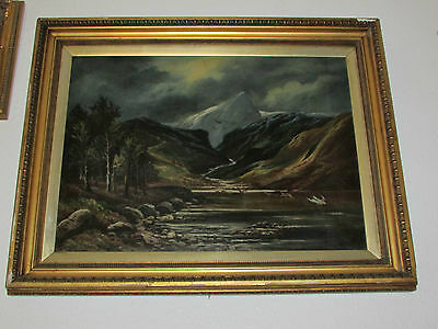 Very Large Antique Oil Painting On Canvas '' Mountains '' Signed By A. Reynolds