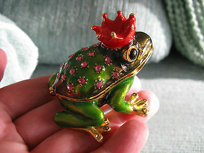New Adorable Mini Jeweled Ornate Chubby Frog Prince Trinket Box W/pink Bling!