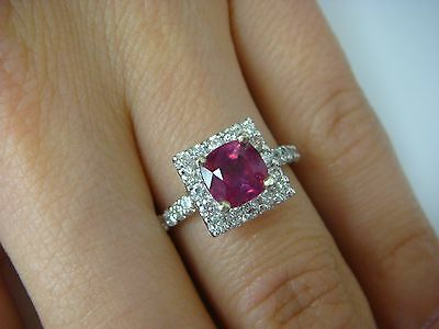 14K White Gold Amazing Ruby Cushion Cut & Diamond Halo Engagement Ring