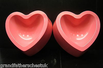2 X Pretty Pink Pet Dog Cat Food Feeding Bowls Heart Shaped Non Slip Deep Sided