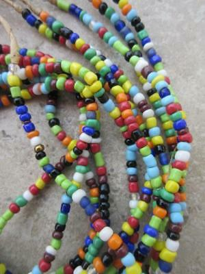 African Glass Beads -6 Strands [64757]