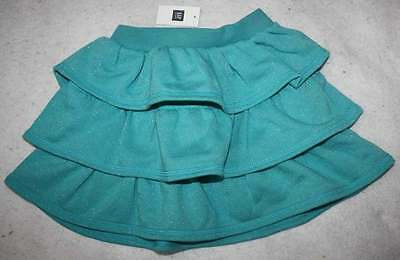NWT Gap Kids Turquoise Blue Comfy Ruffle Tiered Sparkle Skirt S 6 7 Yrs.