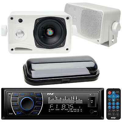 New Marine Boat Yacht In Dash USB AUX MP3 Radio Receiver 2 Box Speakers + Cover
