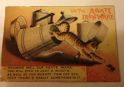 Vintage Victorian Trade Card -Agate Iron Ware with Cat, Mouse,Tea Pot-Van Huesen