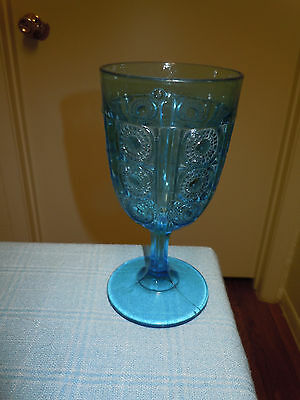 NICE EAPG Bellaire Glass Blue PANELLED JEWEL Goblet 1880